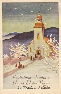 Martta Wendelin Vintage Christmas Cards, Retro Christmas, Christmas Greeting Cards, Christmas Art, Christmas And New Year, Christmas Decorations, Childrens Christmas, New Year Card, Light Art