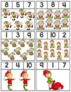 Elf Clip Cards | Numbers 1-10 Preschool Christmas Activities, Free Preschool, Preschool Activities, Math For Kids, Crafts For Kids To Make, Numbers 1 10, Teaching Numbers, Grande Section, Kids Christmas