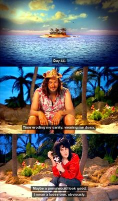 Because the best thing to be thinking about when stranded on an Island is a loose perm. Because the best thing to be thinking about when stranded on an Island is a loose perm. Mighty Mighty, The Mighty Boosh, British Humor, British Comedy, Best Tv Shows, Favorite Tv Shows, English Comedians, English Comedy, Loose Perm