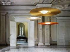 Mood pendants with polyester or acrylic shades by Modoluce.