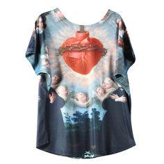 新しい ホット販売女性トップス宗教tシャツ レディース バロック半袖仏tシャツ快適な女性服