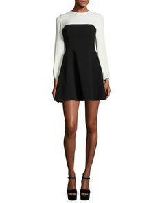 Serphina+Two-Tone+Long-Sleeve+Mini+Dress,+Black/White+by+cinq+a+sept+at+Neiman+Marcus.