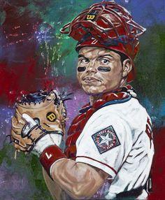 Texas Ranger catcher Pudge Rodriguez by Robert Hurst Sports Decor, Sports Art, Baseball Art, Sports Baseball, Texas Rangers, Office Ideas, Hanging Out, Catcher, Puerto Rico