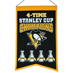Pittsburgh Penguins Embroidered Wool 4-Time Stanley Cup Champions Traditions Banner
