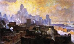 """""""Mountains of Manhattan"""", oil on canvas, American Impressionist Artist: Colin Campbell Cooper, ~ {cwl} ~ (Image: The Athenaeum) Skyline Painting, Impressionist Artists, Mountain Paintings, Art For Art Sake, Mural Art, Landscape Paintings, Oil Paintings, Landscapes, Lovers Art"""