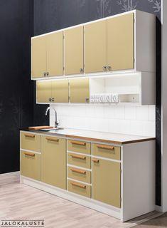 home decor retro bill One Wall Kitchen, Kitchen Time, Kitchen Cupboards, Kitchen Layout, Kitchen Decor, 50s Style Kitchens, Home Kitchens, 60s Furniture, Cheap Furniture