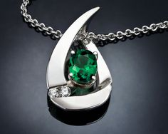 green tourmaline necklace - October birthstone - Argentium silver pendant - gemstone jewelry - modern jewelry - 3378 on Etsy, $295.00