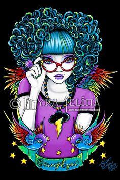 Star - Rainbow tattoo angel by Myka Jelina