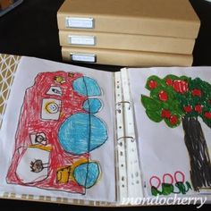 Great way to organize kids' art.  Bigger drawings and paintings are kept in A3 storage boxes while their special drawings are kept in these ring binders - one for each year (starting from age 3) for each child.