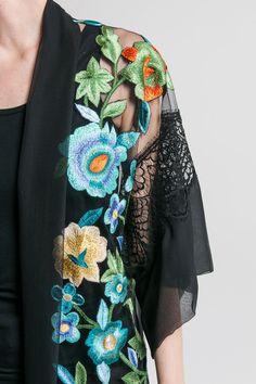 Alberta Ferretti Lace & Sheer Silk Embroidered Jacket in Black | Santa Fe Dry Goods & Workshop #albertaferretti #silk #sheer #embroidery #lace #floral #flower #spring #summer #ss17  #fashion #style #clothing #jacket #kimono #boho #luxuryfashion #santafe #santafedrygoods