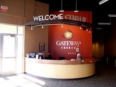 """No longer a church office or info booth, now referred to as a """"Welcome Center"""""""