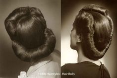 Retro Hairstyles History of Womens Fashion - 1940 to 1949 1940s Hairstyles For Long Hair, My Hairstyle, Retro Hairstyles, Fashion Hairstyles, Wedding Hairstyles, Wedding Updo, 1940s Fashion Women, Vintage Fashion, Womens Fashion