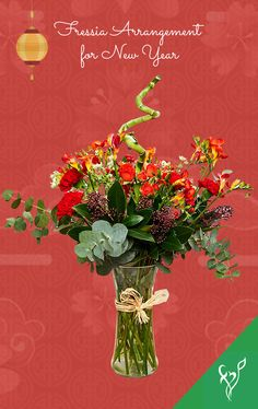 Product Details: 5 Stems of Orange Fressia 3 Red Carnations 3 Stems of Orange Spray Roses 3 Stems of Red Skimmia 3 Stems of White Astrantia One Spiral Bamboo Fillers- Eucalyptus Leaves One Cylindrical Glass Vase Red Carnation, Astrantia, Order Flowers Online, Eucalyptus Leaves, Spray Roses, Flower Delivery, Carnations, Stems, Spiral