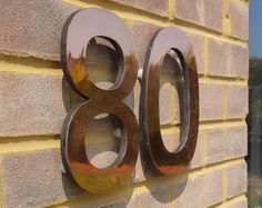 Modern House Numbers 4 100mm High Floating In Antigoni Copper Faced Polished Or Patinated D