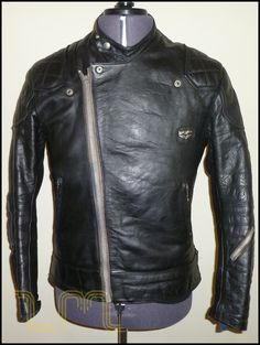 large image two of this rare vintage leather motorcycle, aviator or biker jacket