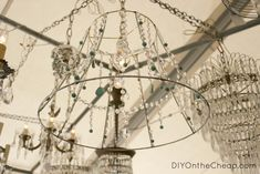 Gorgeous chandelier with turquoise beads, for sale at the Scott Antique Market in ATL.