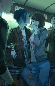 Max and Chloe Life is strange in the style of Tamen De Gushi Manhua (Their Story) Life Is Strange Fanart, Life Is Strange 3, Life Is Strange Wallpaper, Art Lesbien, Character Inspiration, Character Art, Chloe Price, Lesbian Art, Lesbian Pride