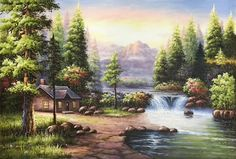 hand-made oil painting,decoration,murals. - Handicrafts Art Gallery - - hand-made oil painting,decoration,murals. Waterfall Paintings, Scenery Paintings, Landscape Paintings, Beautiful Paintings Of Nature, Oil Painting On Canvas, Canvas Art, Bob Ross Paintings, Thomas Kinkade, Mural Art
