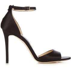 Jimmy Choo Tori 100mm satin sandals (3,260 PEN) ❤ liked on Polyvore featuring shoes, sandals, jimmy choo, heels, black, strap heel sandals, clear sandals, black heeled sandals, clear heel sandals and strap sandals