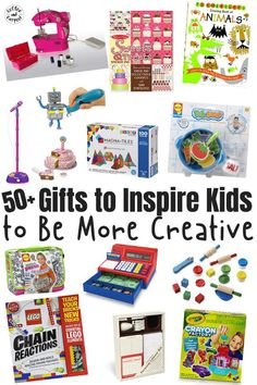 Are you looking for simple and effective ways to encourage your children to explore their creative side? You'll love this list of over 50 gifts that will inspire boys and girls to be more creative! These gifts will help your children play and explore while spending time inside this winter! #creativekids #giftsforkids #creativegifts #coffeeandcarpool #holidaygiftsforkids #giftguide
