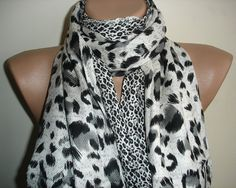 Leopard Scarf  Pashmina Scarf  Black and White Long by cocoshwoman, $22.00