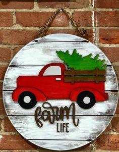 Christmas Farm, Christmas Red Truck, Christmas Signs Wood, Vintage Christmas, Christmas Crafts, Christmas Patterns, Etsy Christmas, Christmas Stuff, Christmas Holiday
