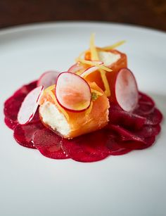 Smoked salmon with goats' cheese, lemon mousse and beetroot carpaccio - A beautiful starter for any dinner party