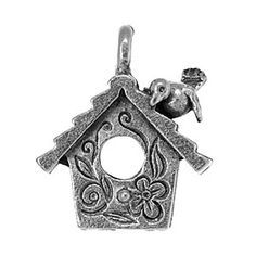 16x14mm Antique Pewter Bird House Charm | Fusion Beads
