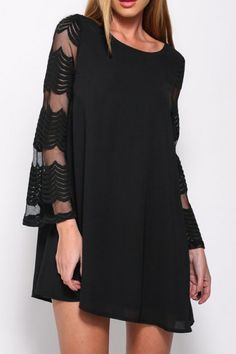 Black Patchwork Lace Sheer Layers Of Chiffon Round Neck Above Knee Elegant Mini Dress Cheap Dresses, Cute Dresses, Casual Dresses, Short Dresses, Dress Long, Outfit Vestido Negro, Lace Sleeves, Dresses With Sleeves, Sleeve Dresses