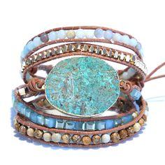 92ec208fb9882 Leather Beaded Wrap Bracelet for Women Amazon Ocean Gilded Stone Charm 5  Strands Wrap Bracelets Handmade