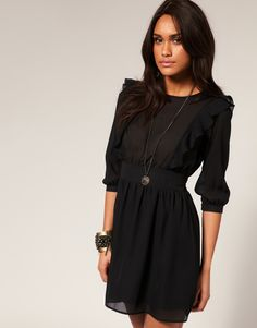 ASOS Frill Dress with Shirred Waist $68.96 , so pretty :)