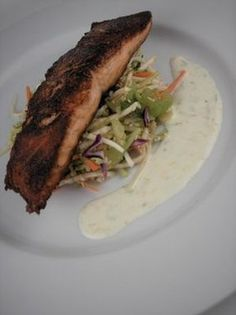 Salmon with Asian Slaw and Citrus Yogurt Sauce...this recipe can be used for any type of fish