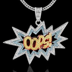 Amazon.com  Silver Plated Rapper Inspired Hip Hop CZ Oops! Pendant Necklace  74780dc4e