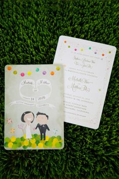 Cute modern colorful couple illustrated wedding invites
