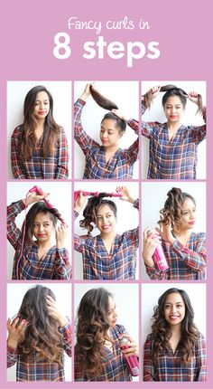 Learn how to create fancy curls in 8 easy steps! This stylish hair-do only takes 7 minutes.