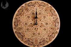 Wall clocks black lace handmade Pyrography by BijouVarni on Etsy