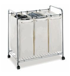 Laundry Sorter - 3 Section Laundry Hamper With Wheels
