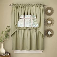 Fancy Sage Solid Opaque Ribcord Kitchen Curtains  Choice of Tiers Valance or Swag *** Be sure to check out this awesome product.