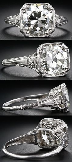 engagement rings, diamond ring, diamonds, antique engagement ring, Art Deco, vintage, engraving, 3 carat, setting, European cut, solitaire