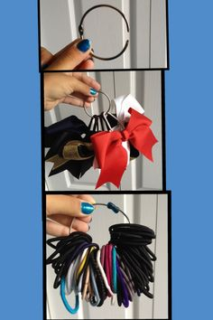 Use a Binder or Index Card holder ring to hold all your hair ties or bows 1eaac273653