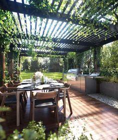 Modern Pergola, Outdoor Pergola, Backyard Pergola, Pergola Kits, Outdoor Dining, Backyard Landscaping, Outdoor Decor, Cheap Pergola, Landscaping Ideas