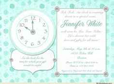 Around the Clock Bridal Shower Invitation with teal roses in the background