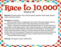 Race to 10,000 Multiplying by 100 game