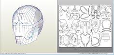 Iron Man pepakura helmets: Mark 42 43 Iron Patriot WM - PDF Links first post 3D print