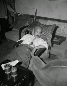 With a gaping bullet wound just below the heart, Gen. Hideki Tojo, former Japanese premier who failed to lead Japan to victory, lies semi-conscious in a chair after he shot himself, September 11, 1945 in Tokyo, Japan. (AP Photo/Charles Gorry) everyday: 55 Amazing Vintage Photos Showing Life of Tokyo in the 1940s