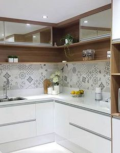 36 Fabulous Modular Kitchen Designs Ideas That Inspire You - Whenever there is a talk of kitchen, it is considered the most important part of house for women. So, the decoration and care of kitchen is as importa. Kitchen Room Design, Modern Kitchen Design, Kitchen Tiles, Home Decor Kitchen, Kitchen Countertops, New Kitchen, Interior Design Living Room, Home Kitchens, U Shape Kitchen