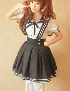 "Cute kawaii sailor straps skirt+shirt two-piece - Use the code ""batty"" at Sanrense for 10% off your order!"