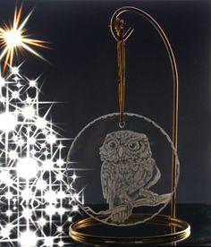 Owl ornament  flat glass engraved ornament by GlassGoddessNgraving, $25.00