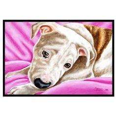 "Caroline's Treasures Dream Girl Pit Bull Doormat Rug Size: 1'6"" x 2'3"""