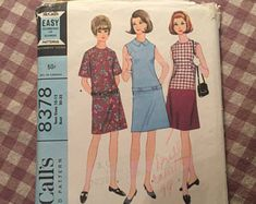 """Vintage 1960's McCall's Dress Pattern #8378 Size 10/21 Bust 30/32"""" 60s Blouse Pattern / Vintage Dress Pattern / Collared Dress"""